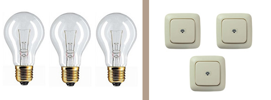 3 Ламп 3 Выкл
